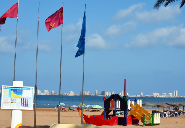 Children's climbing frame on the sandy beach in Mar de Cristal
