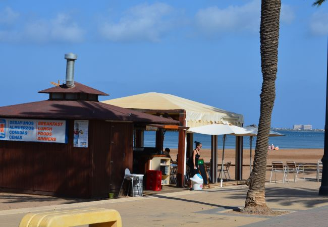 Wooden beach hut serving food and drinks with sunbeds to hire