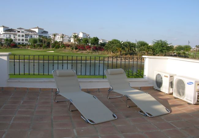 Beautiful and spacious terrace of La Torre Golf Resort townhouse for relaxation