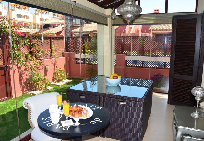 Terrace having refreshment area in Mar de Cristal house