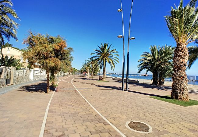 Large beach promenade in Santiago de la Ribera to walk
